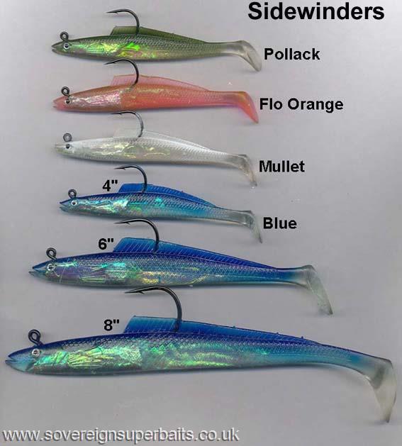 "10 Per Pack Sidewinder Shimmer Sandeel Bass Lures 6/"""